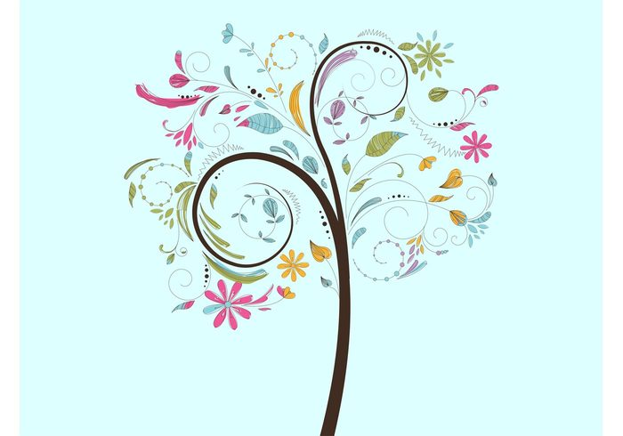 vector tree twigs trunk Tree graphics plant petals nature leaves hand drawn floral dots decorations colorful branches bloom