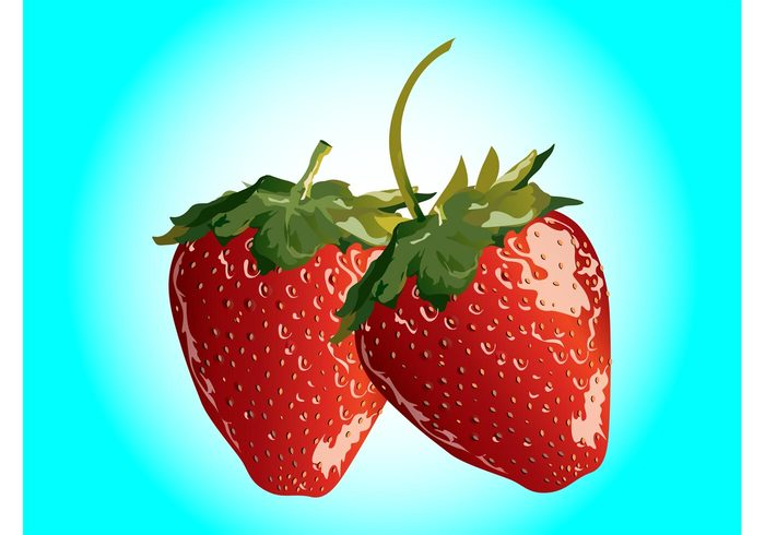 sweet strawberry stickers Stems shiny seeds plants organic nature natural meal logos leaves icons fruits fresh food dessert