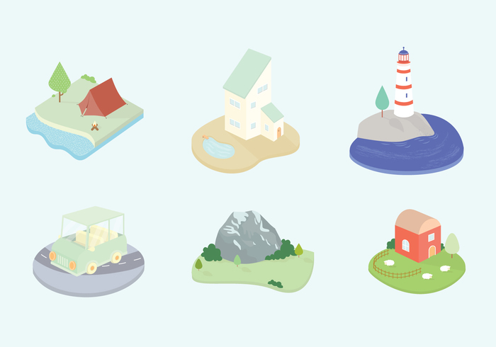 wood water tree tent Swimming pool sheep rolling hills pastel nature mountain lighthouse light house landscape house green grass fire farm car camping 3D icons 3d