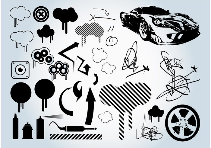wheel Urban graphics tags spray can sports car speakers Signatures racing Plug paint music graffiti doodles clouds arrows