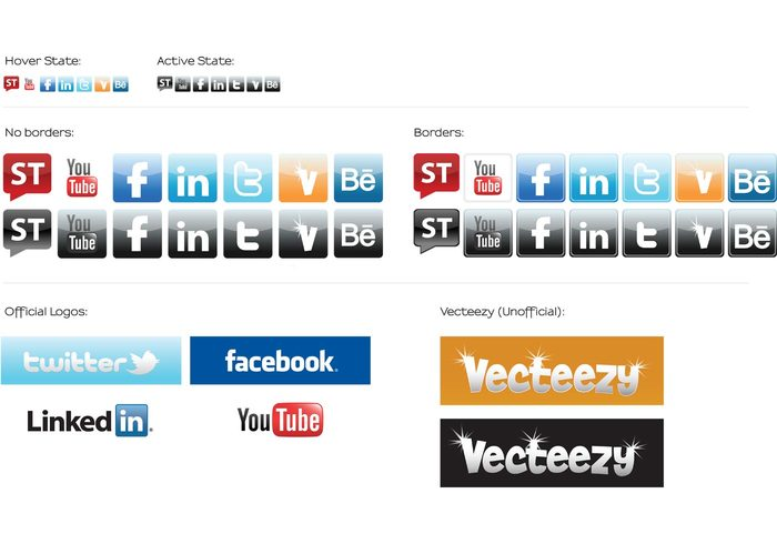 youtube Vecteezy Logo twitter tweet Stock Twits social media icons Ley's Designs icons Facebook behance