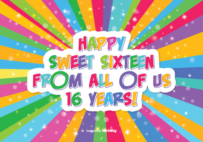 teenager Teen symbol sweet 16 sweet sunburst sixteen sign shape retro red pretty postcard pink picture party multicolor modern joy invitation illustration holiday heart head happy birthday happy greeting graphic girl fun female face element cute colorful color celebration card borthday birthday beautiful background anniversary Age 16