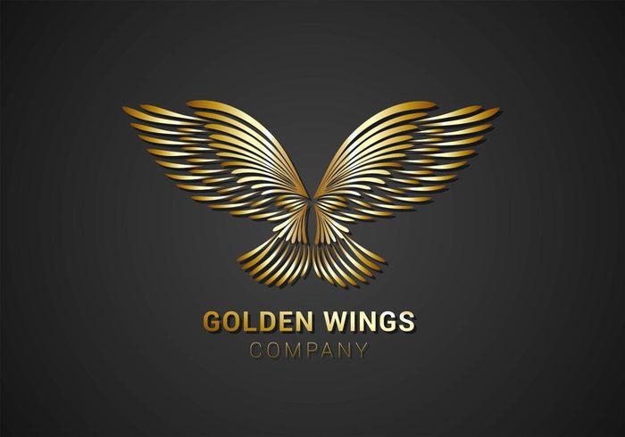 Free Golden Wings Logo Vector 128512