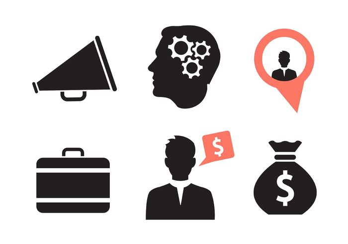 voice thinking strategy silhouette sack resources Organization money megaphone icon megaphone manager management loudspeaker loud up Job icon gears finance dollar businessman business briefcase