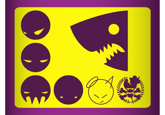stickers skull shark round logos icons heads faces devil decals circles characters animal angel