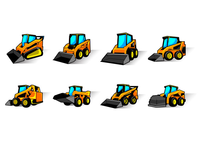 work white wheel view vehicle transportation transport track template steer small skid steer skid silhouette set scraper scoop road mover Mining machinery machine logo loader load land isolated industry industrial illustration icons heavy forklift field excavation equipment Engineering earth Digging construction compact collection cartoon car building bucket black background auto
