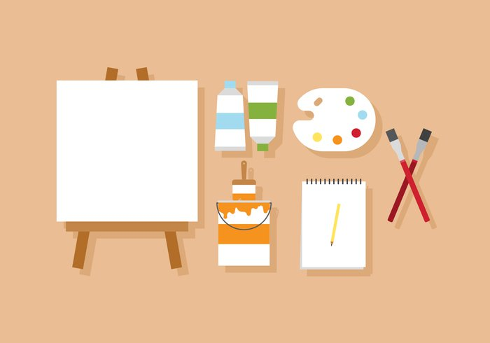 workshop work white watercolor vector tube tools supplies stuff Studio sign set school Place picture pencil palette painter paintbrushes paint materials layer isolated interior ink image illustration Hobbies frame flat equipment elements education easel drawing designer design creativity creative crayon colorful color swatches color brush background artist art