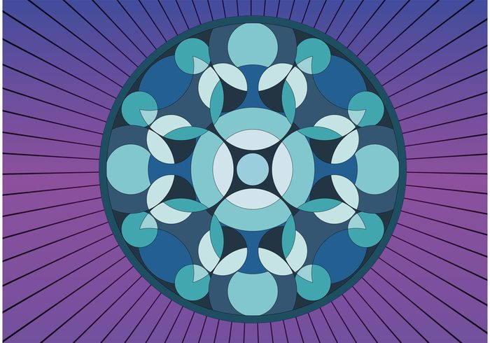 Vector image round psychedelic pop art pattern Optic op art Kaleidoscopic kaleidoscope geometric circle background