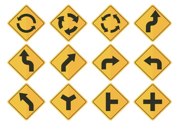 yellow white Way warning vector transportation transport traffic symbol street sign safety roundabout round Rotation roadsign road post placard pictogram path movement motion loop label junction isolated intersection illustration icon emblem driving direction danger cycle Crossroad crossing circulation circular circle caution button board banner background arrow ahead