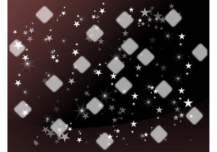 Vector squares sparkling sparkles soft shiny shines rounded rays hazy Diamond shapes blurred background