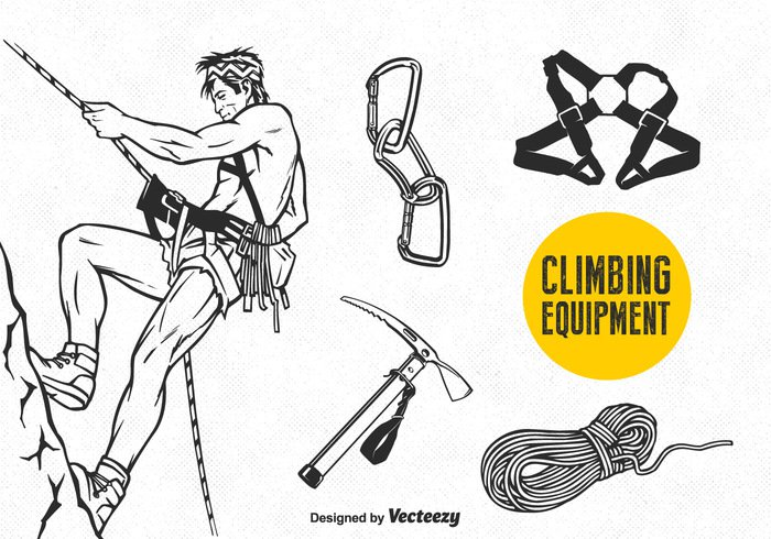 wall vector tool support strength sport set security secure safety Safe rope rock Recreation protection Outdoor mountaineering mountain metal lock Link leisure knot isolated illustration icon hook hammer extreme equipment drawn Dangerous danger close climbing wall climbing climber climb belt background aluminum alpinism Adventure activity active
