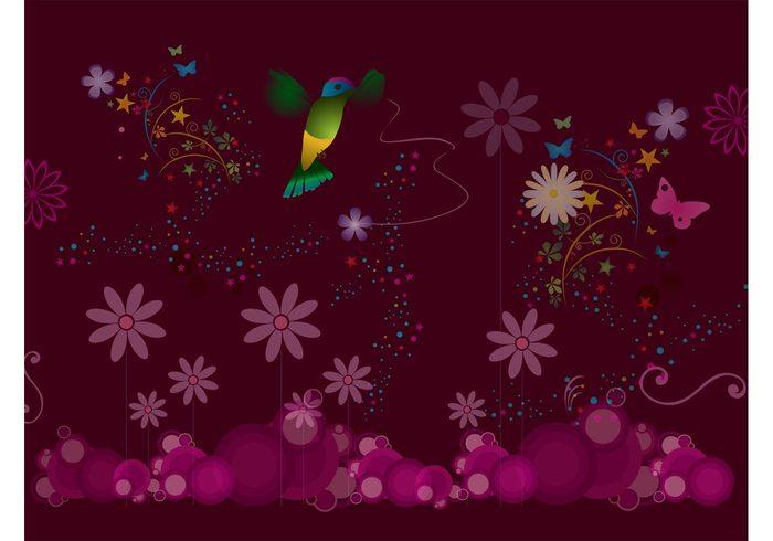 stars retro party nature hummingbird flowers Floral art joy fantasy Colibri circles celebrate butterflies birds