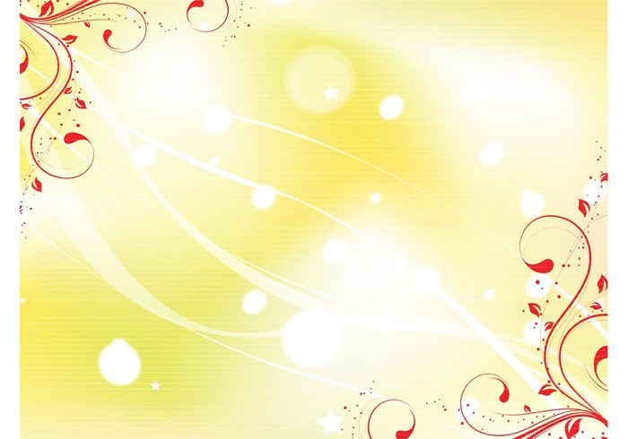 yellow wallpaper swirl shapes scrolls ribbon red rays radiant lighting graphics gold filigree dots circle
