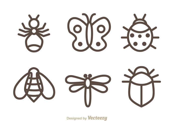 spring small outline line ladubug imsect garden cartoon butterfly cartoon butterfly bug bee ant animal