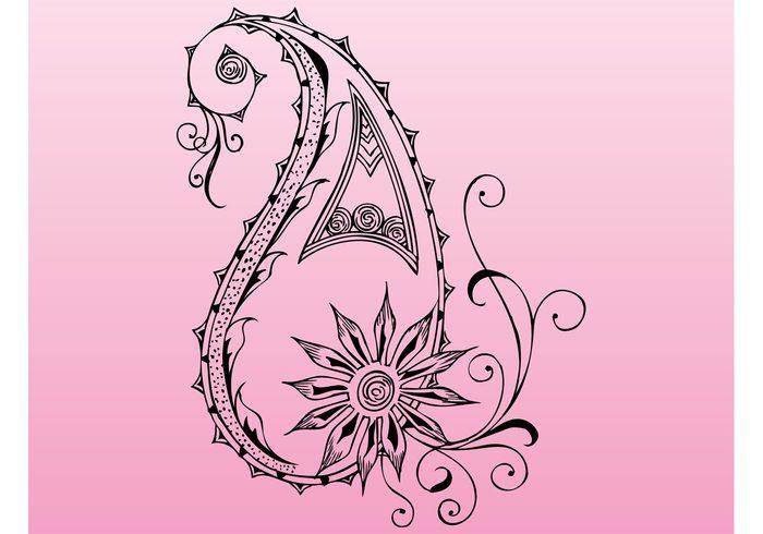tattoo swirly swirls scroll plant petals nature leaves flower elegant decorations decal blossom bloom