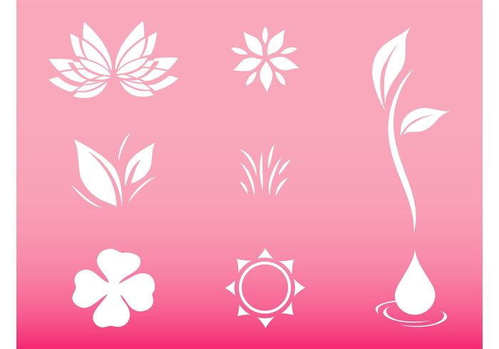 water sun stickers Stems rays puddle plants petals logos leaves grass flowers floral drop circle