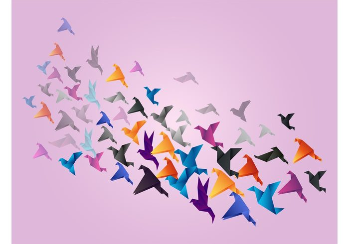 wings triangles origami modern art Migration folded flying flock flight decorations colorful animals abstract