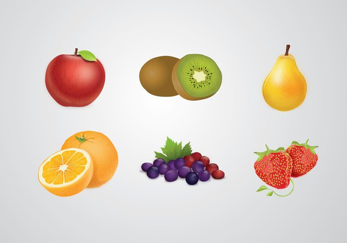 strawberry seasons seasonal pear orange kiwi grapes fruits food apple