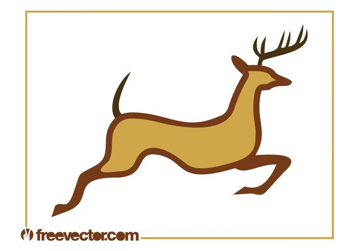 wild tail silhouette run reindeer jump festive deer christmas antlers animal
