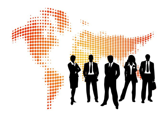 world work silhouettes profession people map Job global corporate businesswoman businesspeople businessman business