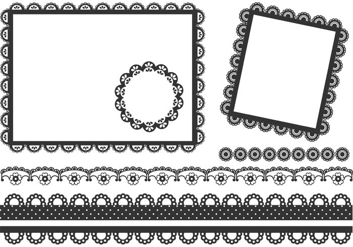 vintage victorian vector texture template square doily square scrapbooking scrapbook round retro rectangular pattern ornament lace isolated frame element dot doily design decorative decoration cute color classical circle border black background