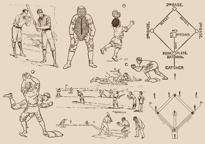white vintage vector training team swing sport sketch set retro Recreation player play pen man line isolated illustration icon hit game equipment drawn drawing collection bat baseball diamond baseball ball background Athletic athlete artistic