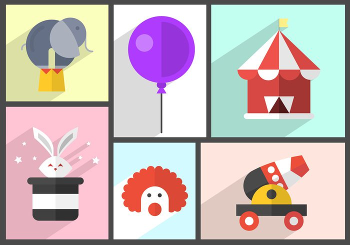 wheel vintage circus tent silhouette set rabbit playground park old circus posters isolated illustration icons icon hat fun flat ferris fair entertainment elephant silhouette elephant elements collection clown Circus celebration carnival Canon bunny balloon background amusement