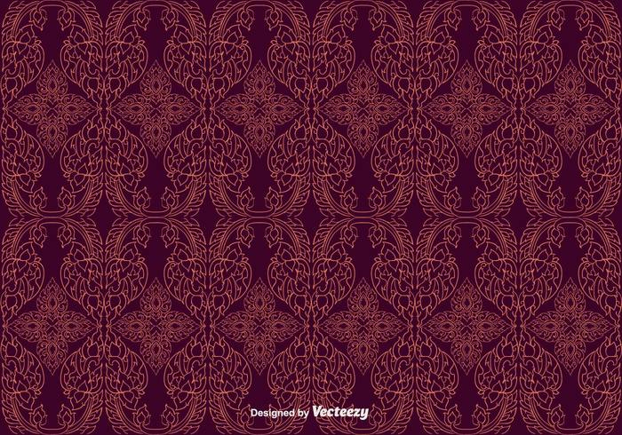 vector traditional thailand thai pattern Thai pattern maroon background hand drawn free flower decorative decoration culture Buddhism background artistic