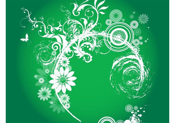 wallpaper swirls swirling Stems plants petals nature leaves flowers decorative circles butterflies background