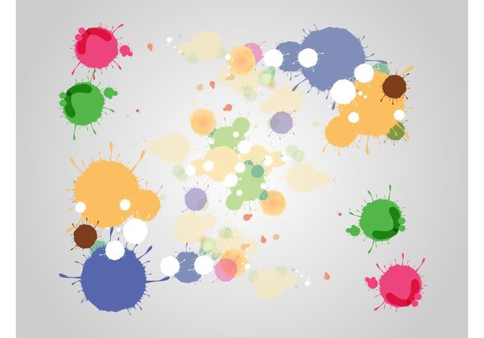 Splatter vectors splashes painting paint drops drips creativity creative colors bright background artistic art