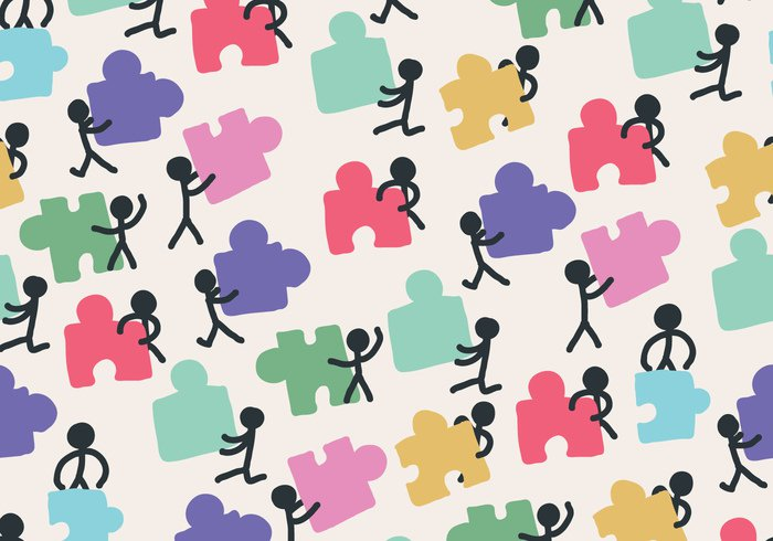 working together working together team repeat people pattern Job jigsaw background