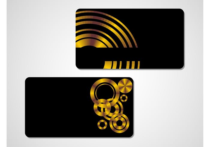 templates shiny round rectangular Rectangles metallic metal gold glossy geometric shapes credit cards circles business cards