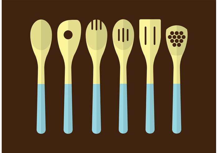 wooden utensil wooden spoon wooden vector utensil traditional tool symbol spoon Spice Spatula shovel set object natural kitchenware kitchen isolated illustration icon fork food flat design equipment dinner cutlery cooking cook collection brown