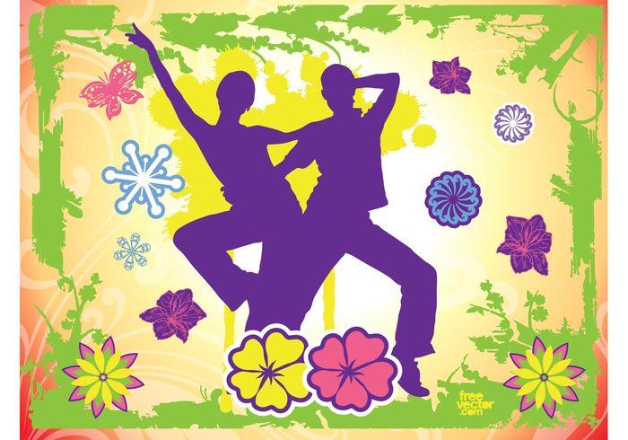 woman tropical swirls sunny pose plants people paint man joy invitation fun flowers exotic drops dancing couple card