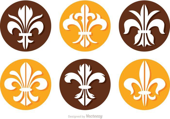 wealth victorian symbol saint royalty royal round old lis Gothic French flower floral fleur de lis icon fleur de lis fleur De coins circle badge