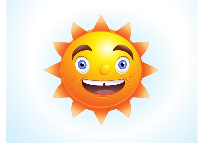 warm sunny sunlight sun summer solar sky nature heat cute comic character cartoon animated