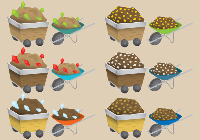 wooden wheelbarrow vector user ui treasure transport tool success Stacks silver shiny set resources red production produce Prey precious Pickaxe pickax ore object nugget mineral Mine mattock load isolated interface illustration icon heavy hauling gui group green gold mine gold gems gaming game extraction equipment element dig diamond cartoon blue barrow app