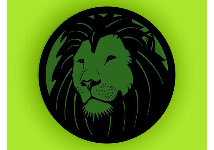 wildlife wild safari round Muzzle Minima mane Majestic logo jungle icon eyes circle Big cat animal vector