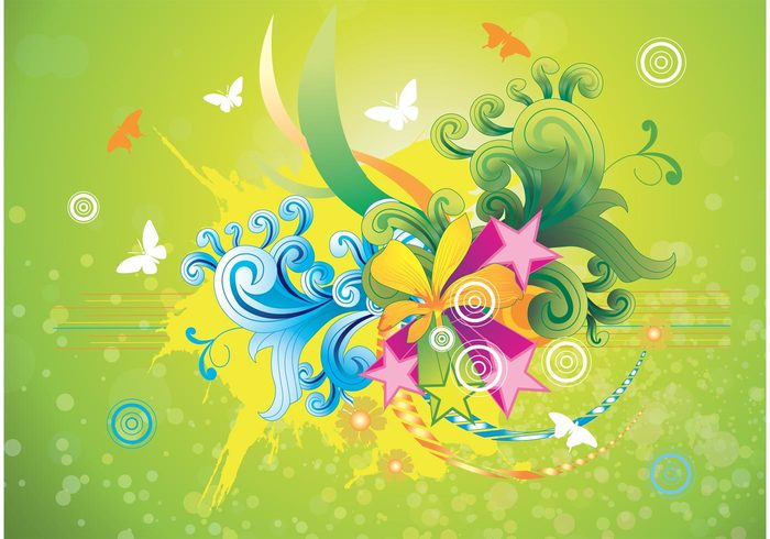 Web Design stars plant joyful joy invitation fun fresh flowers floral Design Elements colors colorful butterfly border