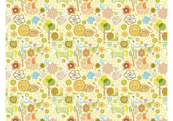 trees snails seamless rabbit plants lions horses hand drawn fantasy fabric pattern Clothing print bunny birds animals