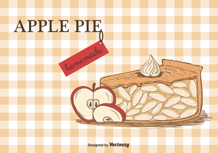 vector tablecloth slice set pie pastry free food dessert delicious bakery baked apple pie apple