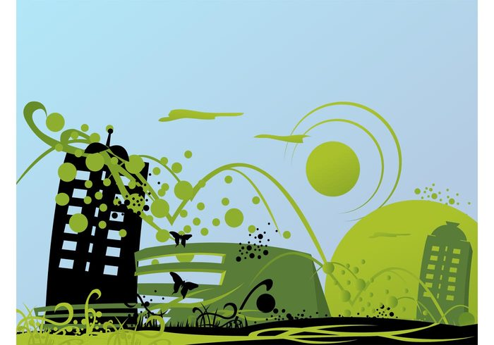 urban town skyscrapers plants nature insects ecology decorative decorations buildings architecture animals abstract
