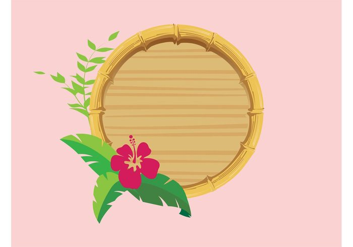 wooden wood tropical Stems round plant logo leaves hibiscus flowering flower floral exotic circle branding bamboo