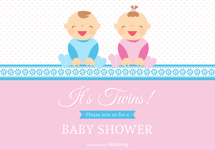 vector two Twins twin babies Twin Smile small shower ribbon people pair newborn new little lace invitation infant illustration Human happiness girl face design cute childhood child cartoon care card boy Born blue birth background baby announcement