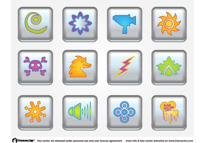 sun Stock footage skull silver shiny shapes icons glossy Design Elements colors clip art camera Buttons pack