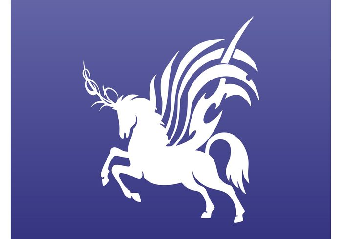 wings winged unicorn silhouettes mythology Mythological creature magic horn fantasy fairytales animal