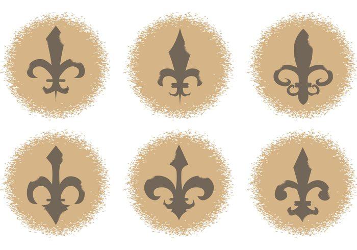 vintage tattoo symbol shape royalty royal retro renaissance ornate ornamental ornament motif medieval isolated gold French france fleur de lis emblem elegance decorative decoration classical classic antique