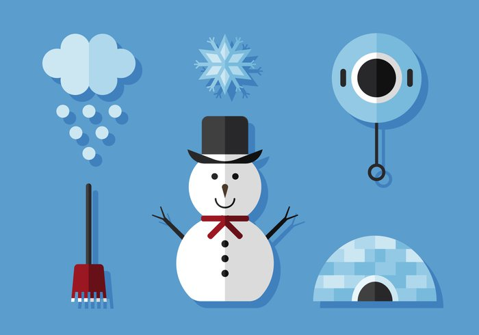 winter vector Throwing sweet snowman snowflake snow smiling seasonal season scarf playing person outside Outdoor new jumping invitation illustration iglo house holiday happy greeting fun frosty decoration cute costume cold christmas character celebration cartoon background art