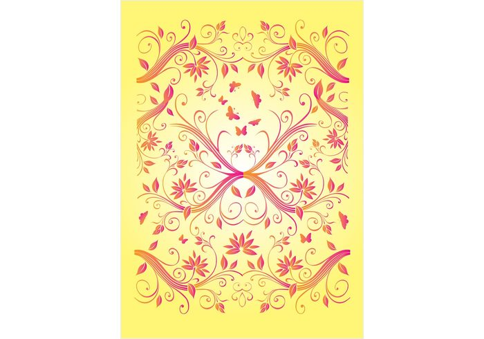 yellow summer spring plant pink pattern nature line leaf graphic flower floral elegance design decoration butterfly botany border beautiful background