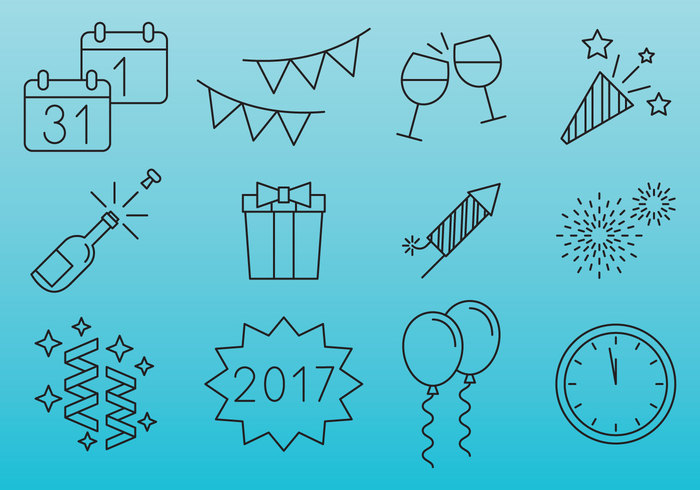 year white vector symbol sign set pictogram people party note night new years eve new music mono microphone logo isolated illustration icons holiday hat happy gift fun firework event entertainment design decoration day countdown confetti champagne celebration celebrate calendar black ball background